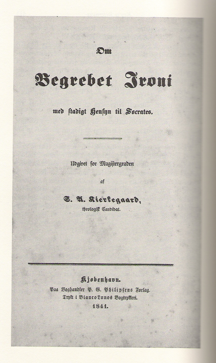 Cover page to Soren Kierkegaard's university thesis (1841). Irony thesis.png
