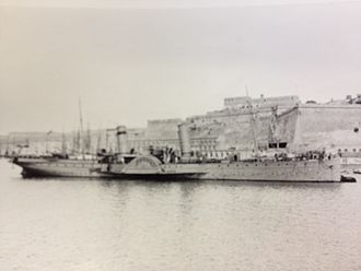 SS Queen Victoria (1887) - Queen Victoria, on wartime service, pictured at Malta, 1916.