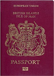 The front cover of a contemporary Manx biometric passport.