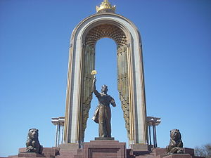 Tajiks - Monument of Amir Ismail Samani. His reign saw the emergence of the Samanids as a powerful force and the spread of Sunni Islam deep into Central Asia.