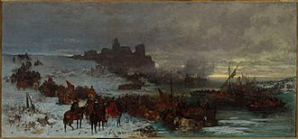 Stefan Czarniecki - Czarniecki at the battle of Kolding. Painting by Józef Brandt.