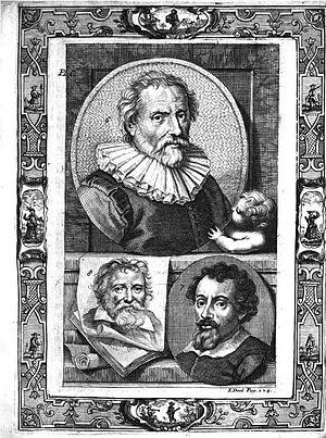 The Lives of Dutch painters and paintresses - Image: JC Weyerman VI Plate C Abraham Bloemaert Adam Elsheimer Adam van Oort