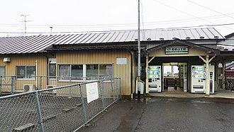 Rikuzen-Sannō Station - The station entrance in August 2014