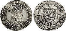 Images of a silver coin: one side showing a crowned king and the other the heraldic lion rampant of Scotland on a shield, both surrounded by writing.