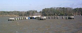 Jamestown Ferry - Ferry pier at Jamestown, seen from the departing ferry