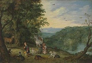 Waldlandschaft mit hl. Hubertus