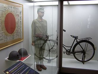 Twenty-Fifth Army (Japan) - A display at the Malaysian National History Museum, showing the uniform worn by Japanese soldiers and a bicycle used