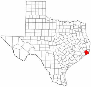 National Register of Historic Places listings in Jefferson County, Texas - Location of Jefferson County in Texas