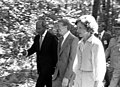 Jimmy Carter, Rosalynn Carter, Anwar Sadat walking at Camp David, September 5, 1978 (10729717663).jpg