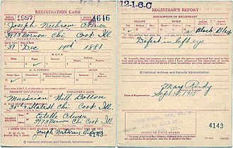 "King Oliver - Joe ""King"" Oliver's Draft Card, signed 09-12-1918 in Chicago"