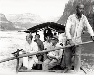 John L. Savage - Savage and Chinese Delegation, on Yangtze River, 1944