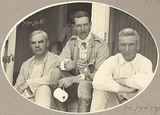 Administrator of the Northern Territory - From left: Minister Josiah Thomas, Sir Walter Barttelot and Administrator John Gilruth in 1912.