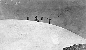 Mount Rainier National Park - At the summit of Mount Rainier, 1888. Left to right: D.W. Bass, P. B. Van Trump, John Muir, N.O. Booth, Edward Sturgis Ingraham. Photograph by Arthur Churchill Warner