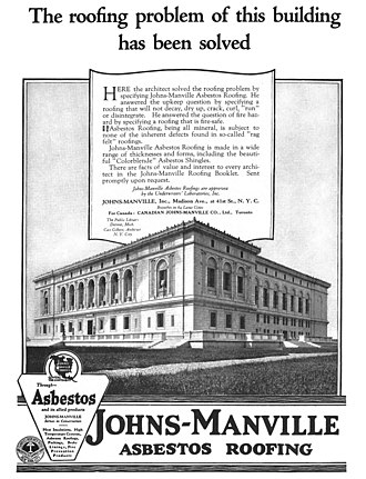 Johns Manville - An advertisement for Johns-Manville asbestos roofing, 1921
