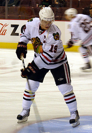Chicago Blackhawks captain Jonathan Toews duri...