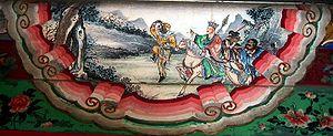 The four heroes of the story, left to right: Sūn Wùkōng, Xuánzàng, Zhū Bājiè, and Shā Wùjìng.