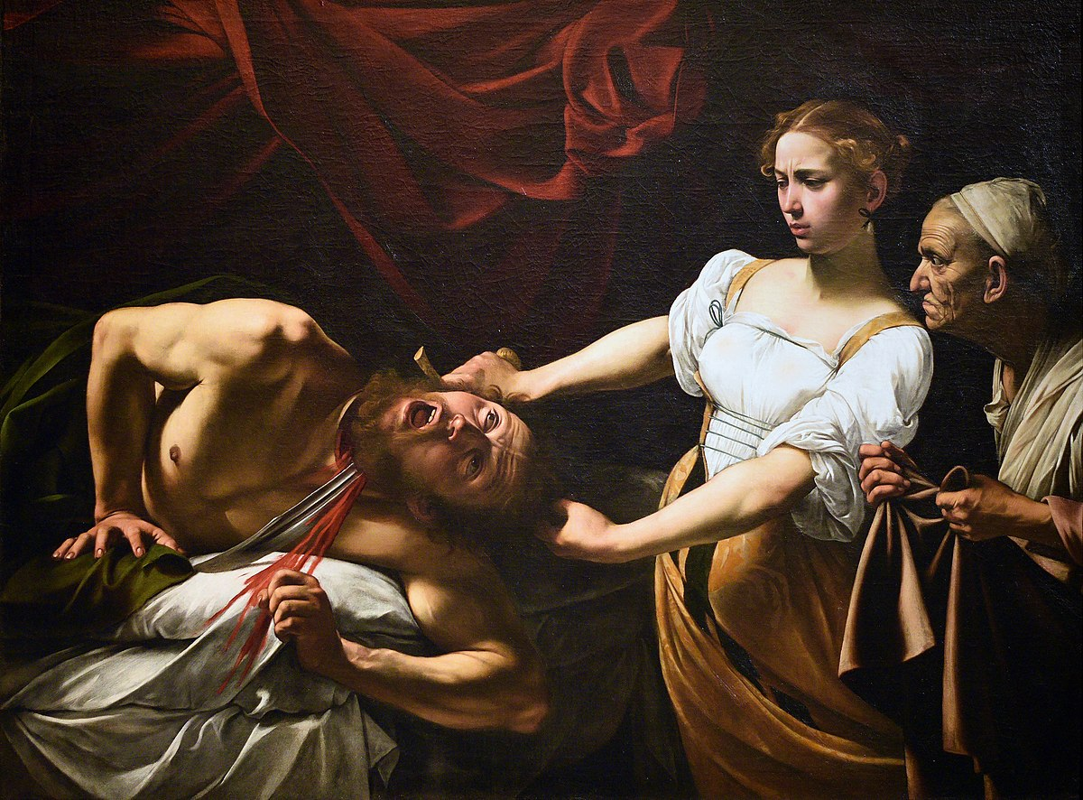 Caravaggio, Judith beheading Holofernes, 1599,Galleria Nazionale d'Arte Antica, Rome, Italy. The first point on  Art Timeline is an image of Death. What an incredible story Caravaggio depicted in canvas Judith beheading Holofernes!