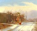 Julius Friedlænder - Vinterdag med spadserende par på en sti.png