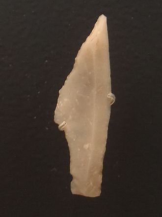 Hamburg culture - Shouldered point from Bjerlev Hede in central Jutland. Dated around 12,500 BC and considered the oldest hunting tool from Denmark
