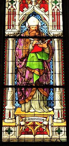 Kirchenfenster mit Fantasiebild des heiligen Augustinus im Kölner Dom. (Quelle: Wikimedia)