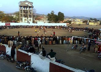 A circle kabaddi match being played in Bhimber Kabaddi Match (Bhimber).jpg