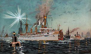 Kaiserin Augusta verlässt Newyork, Chromo-Lithographie von C. Saltzmann 95, nr13 aus G. Wislicenus, Unsre Kriegsflotte - restored, borderless.jpg