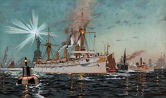SMS Kaiserin Augusta - Kaiserin Augusta leaving New York, from an 1895 lithograph