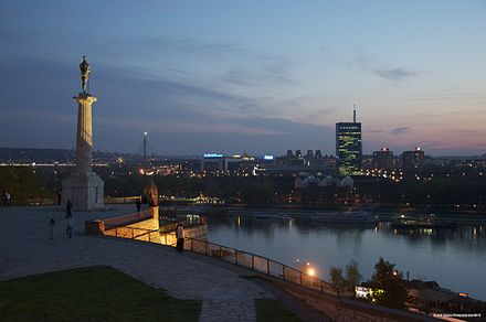 Confluence of river Sava into the Danube beneath Belgrade citadel Kalemegdanska terasa Apr 2011.jpg