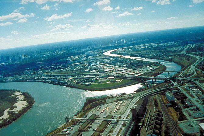 Aerial view of Kansas City, Kansas.
