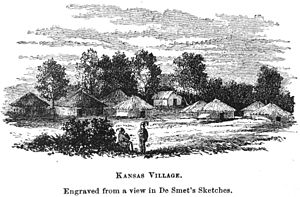 Pierre-Jean De Smet - Engraving of a ''Kaw'' (Kansas) village by De Smet, showing earthlodges and other traditional house forms.