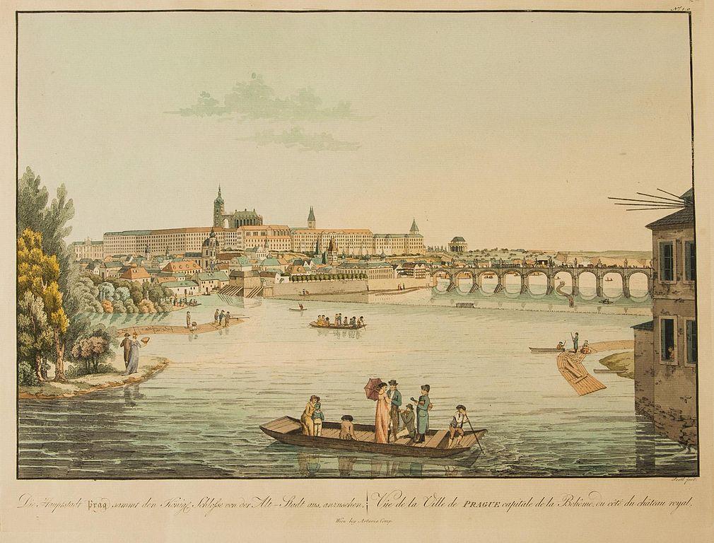 Le plaisir du canotage sur le fleuve de Prague déjà en 1818.