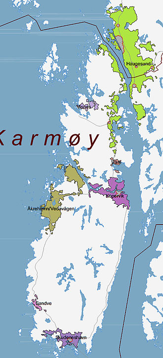 Karmøy - Map of Karmøy with the urban areas marked