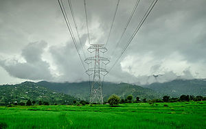 Karsog - Karsog Valley Power Lines Electricity Farms Himachal Pradesh India