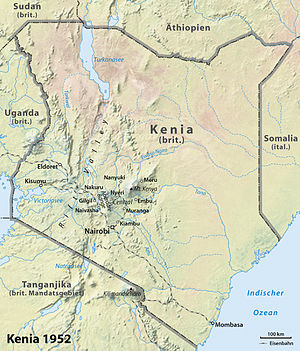 Map of Kenya 1952 (Mau Mau Uprising)