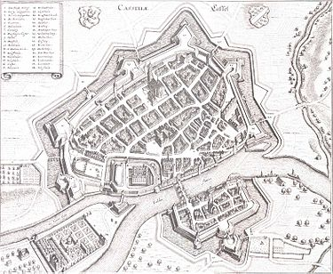 A map of Kassel in 1648. Kassel-merian.jpg
