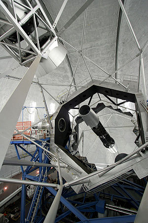 W. M. Keck Observatory - The Keck II telescope showing the segmented primary mirror