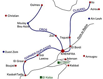 Zaian War - The routes of the French columns that marched on Khénifra