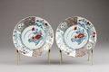 Kinesiska blommiga porslins tallrikar från 1720-40 - Hallwylska museet - 95688.tif