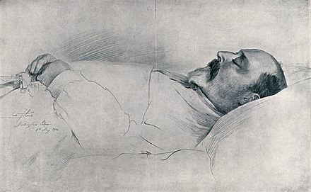 Drawing of Edward on his deathbed in Buckingham Palace by Sir Luke Fildes, 1910 King Edward VII on his deathbed in Buckingham Palace in 1910 Wellcome V0042567.jpg