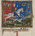 King John hunting - Statutes of England (14th C), f.116 - BL Cotton MS Claudius D II.jpg