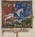 King John hunting - Statutes of England (14th C), f.116 - BL Cotton MS Claudius D II.jpg