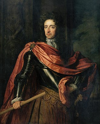 Willem III, Prince of Orange, born 1650, died 1702, reigned as William III of England from 1689 to 1702 after the Glorious Revolution. King William III of England, (1650-1702).jpg