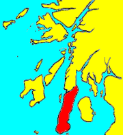 "Kintyre is highlighted in red. The ""Mull of Kintyre"" properly refers to the promontory at the southernmost end, but in this context the apparent angle of the whole peninsula is the relevant standard against which a penis would be compared."