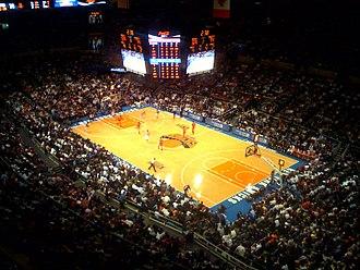 Knicks–Nuggets brawl - Image: Knicks playing at Madison Square Garden