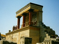 A portion of Arthur Evans' reconstruction of the Minoan palace at Knossos. This is Bastion A at the North Entrance, noted for the Bull Fresco above it.