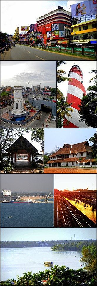 Kollam - From top clockwise: RP Mall in Downtown Kollam, Lighthouse in Tangasseri, British Residency in Asramam, Kollam Junction railway station and Kollam MEMU Shed, Aerial view of Ashtamudi Lake, Kollam Port, Asramam Adventure Park, Jalakeli Kendram near Kollam Beach