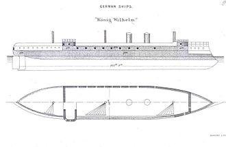 SMS König Wilhelm - Line-drawing of SMS König Wilhelm
