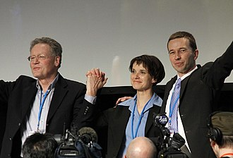 Alternative for Germany - Konrad Adam (left), Frauke Petry and Bernd Lucke during the first AfD convention on 14 April 2013 in Berlin