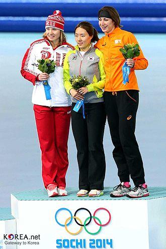 Speed skating at the 2014 Winter Olympics – Women's 500 metres - Image: Korea Lee Sanghwa 500m 04