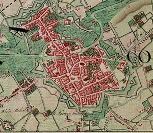 Battle of Courtrai (1794) - Image: Kortrijk, Belgium ; Ferraris Map